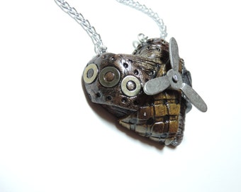 Small Steampunk Heart Necklace with spinning action valentines day gift