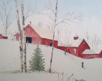 Watercolor print of red barns in the snow. 5in x 7in.