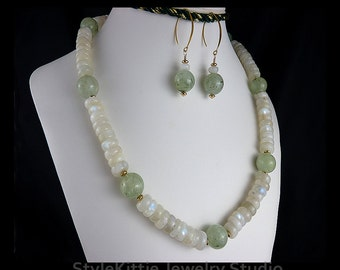 Rainbow Moonstone, Prehnite, Toggle Necklace, Dangle Earrings, 14k Gold Fill, Two Piece Set, Light Green, White, Blue, Gemstone, Jewelry