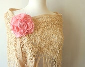 Large Flower Brooch - Pink Rose - Bridal Wrap Pin - Australia