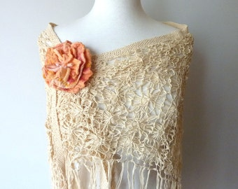 Fabric Flower Pin - Sweater Pin - Scarf Brooch - Apricot Rose