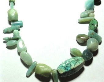 Amazonite and Turquoise Asymmetrical Necklace with Sterling