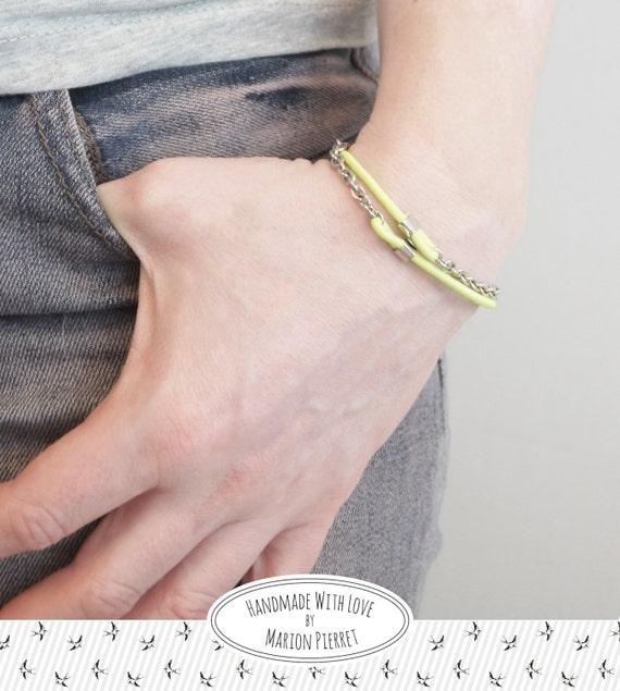 "Bracelet ""Elastica"" Jaune Fluo - Chaîne Forçat"