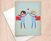 Super High Five - Boy & Girl Couple - Note Card