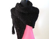 Black Color Chunky Knitted Mini Fichu Shawl Wrap Stole with Tassels