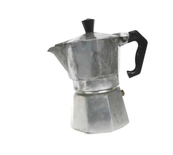 Italian Coffee Maker Small : Vintage Aluminum Coffee Pot Made in Italy Cast Aluminum Junior