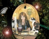 Sorceress and Cat, Magic is Afoot Car Charm / Ornament