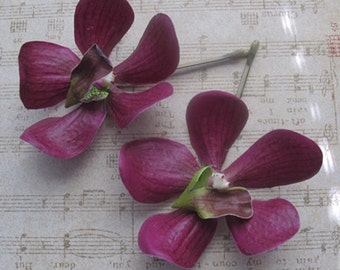 Dark Purple Vanda Orchids SET OF 2 bobby pins - hair clips -