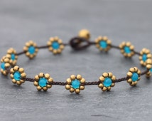 Daisy Light Blue Braided Anklet