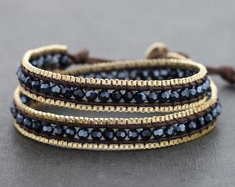 Midnight Crystal Brass Double Wrap Bracelet