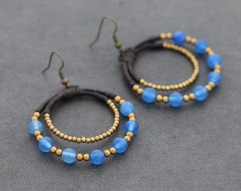 Blue Jade Hoop Rounded Earrings