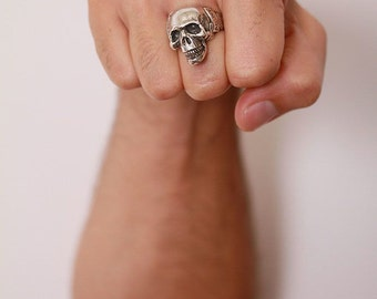 Silver Skull Ring / Another Day Above Dirt / Memento Mori (Solid Sterling Silver) sz 4 to 15 made in NYC