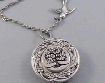 Mocking Bird,Locket,Silver Locket,Bird,Sparrow,Flower,Wreath,Mocking,Bird,Sparrow,Tree,Steampunk,Tree Locket,Tree Neckalcevalleygirldesigns.