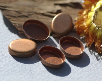 Copper Oval Bezel Cups Blanks - 26g - 14.8mm x 11mm Outside Dimension, 3.8mm tall for Enameling