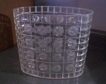 Vintage Lucite Waste Basket Trash Can Oval Clear Plastic