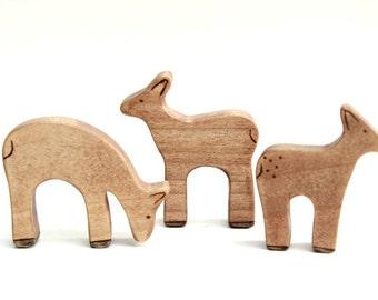 wooden deer toys, waldorf deer, deer figurine, waldorf toys, wood toys