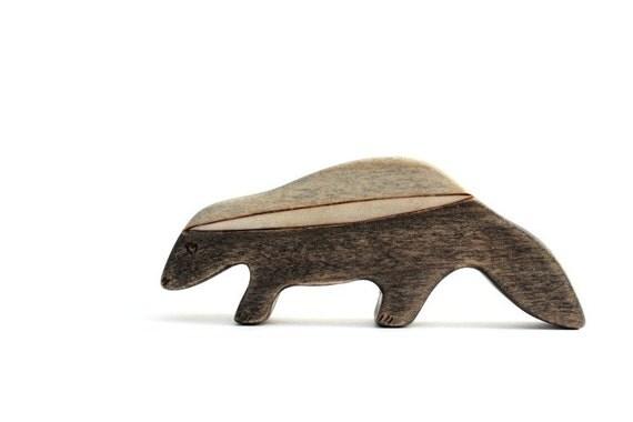 honey badger figurine, wooden animal toy, wooden honey badger, waldorf animal toys, badger