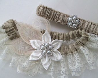 BURLAP Wedding Garter Set, Ivory Lace Garters, Peacock Bridal Garter, Gatsby- Rustic- Vintage- Country Bride