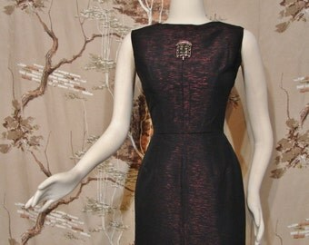 DRESS - Little Black Dress with a Special Red Sparkle - Circa 1950's-60's