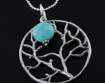 Antique Silver Tree of Life Necklace with Amazonite Gemstone - Wedding Bridesmaids Bridal Jewelry