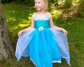 Elsa Tutu Dress: sparkle, white & turquoise, snow queen, Birthday Princess Party, halloween costume, princess dinner, snowflakes, adjustable