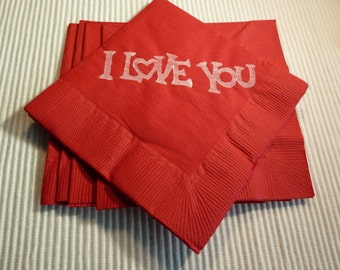 I Love You Paper Beverage/ Lunch/ Dinner Napkins - Red and White