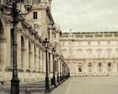 Paris Photography, Louvre Museum, Beige, Blue, Black, Architecture, Paris Bedroom Decor, Neutral, Bedroom Wall Art