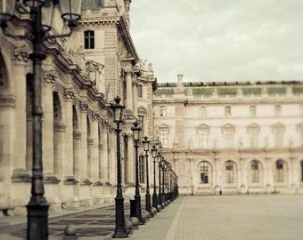 Paris Photography, Louvre Museum, Beige, Blue, Neutral Decor, Rustic Wall Art, Paris Print