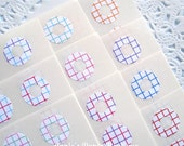 Grid Circle Reinforcements, Sticker or Hole Reinforcements - Pink, Red, Purple, Green - Assortment - 10 Colors