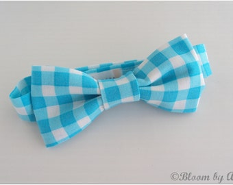 Preppy bow tie collection. Light turquoise large white gingham print,  0-10 yrs. size available