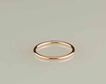 ONE ring, 10kt rose gold stacking ring, stackable ring, thin gold band, handcrafted gold ring, choose finish