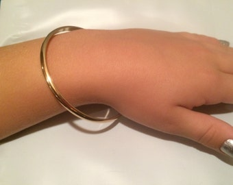 14kt gold fill cuff, yellow gold, half round, wide band, smooth or hammered finish, 4.1mm wide