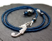 Seahorse Bookmark, Peacock Blue Beaded Bookmark, Handcrafted Fine Silver Seahorse Charm, Deep Ocean Blue Seed Beads, Hematite Dangle