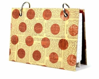 3 x 5 or 4 x 6  index card holder, red polka dots on newsprint, mini note journal, index card tab dividers for index card binder