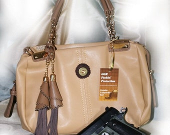 "GGR 'Packin' Protection""  Creamy Tan Leather Concealed Weapon Handbag With Locking Zipper"