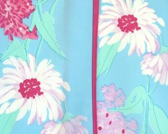 Floral Vera scarf, wingtip scarf, daisy scarf, lilac, baby blue scarf, pink scarf, raspberry scarf, aqua scarf, retro floral scarf