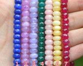 SALE Jade Faceted Rondelle Beads 8mm Red -(V6070)/ 4 Full strands