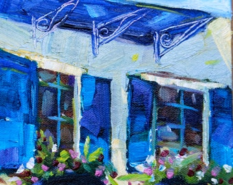 6 x 6 Mini Original Oil Painting Impressionist Landscape French Windows Provence by Rebecca Croft