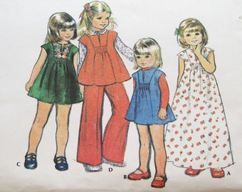 1976 Vintage McCall's Girl Children Dress Jumper Top Pants Pattern 5109 Size 6 Uncut
