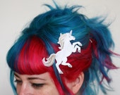 Unicorn Hair Clip, White or Pink, Your Choice of Barrette, Aligator or Snap Clip