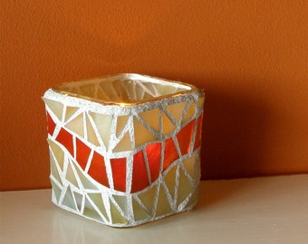 Mosaic Glass Candle Holder or Spice Container - Beige and Rust Glass Mosaic - Home Decor