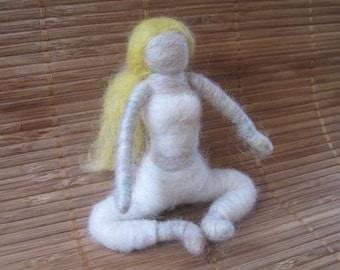 Marsha the Needle Felted Yoga Doll, Waldorf inspired, Yoga, Meditation, Decoration, felted toy, White, Blonde, Design by Borbala Arvai