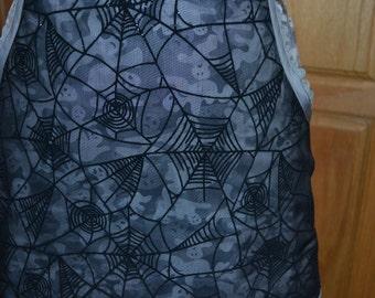 Ladies  Ghosts and Black Spider Webs Halloween Half Apron
