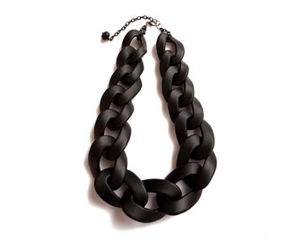 Black Chain Link Necklace, Oversized Statement Necklace, Black Necklace, Fashion Necklace Gift for Her