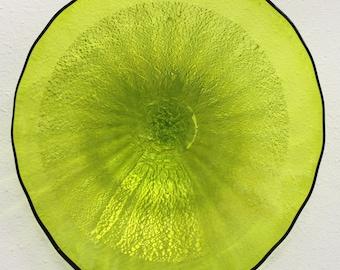 Beautiful Hand Blown Glass Lime Silver Foil Platter 4703 ONEIL