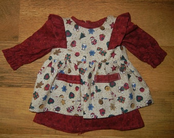 "Holiday Dress with Matching Pinafore/Apron for 18"" Doll"