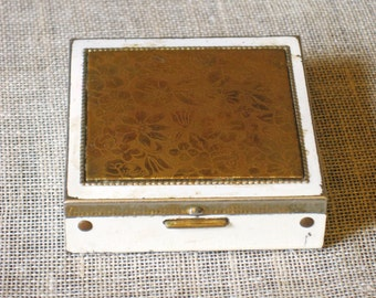 Antique Makeup Compact, Enameled Metal, Case, Small Metal Box, Pill Box, Cosmetics, Powder, Collectibles, Beauty, Square