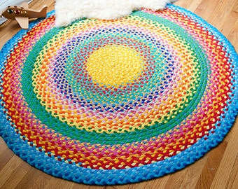 "60"" megs rainbow rug created from recycle t shirts"