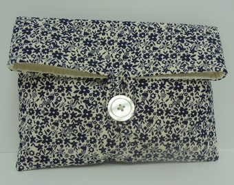 Navy Clutch Bridemaid Bag in Navy and Cream Floral Navy Blue Wedding - READY TO SHIP