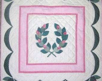 Shabby Chic Victorian Quilted Wall Hanging in Pink and Green